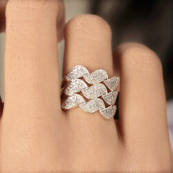 Pave Natural Diamond Solid 14k Yellow Gold Wavy Ring Fine Jewelry New Collection