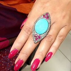 Pave Diamond Ruby Turquoise Gemstone Ring Sterling Silver Designer Jewelry 7and039 Qy