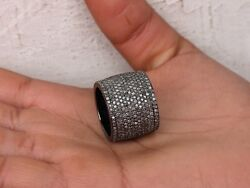 6.58ct Diamond Pave Cigar Ring Sterling Silver Antique Style Fine Us7 Jewelry Py