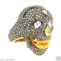 Fine 14k Gold Diamond Pave Skull Ring 925 Sterling Silver Halloween Gift Jewelry