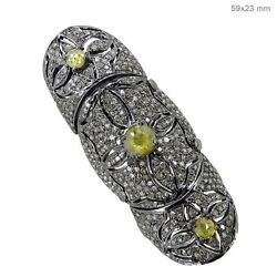 Pave Diamond 14k Gold Sterling Silver Vintage Look Armor Knuckle Ring Jewelry Py