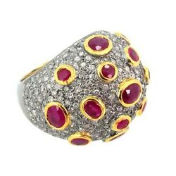 14k Gold Pave Diamond Estate Look Ring Tourmaline 925 Sterling Silver Jewelry Qy