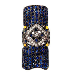 Blue Sapphire Pave Diamond 14k Gold Armour Knuckle Ring 925 Silver 7and039 Jewelry Oy