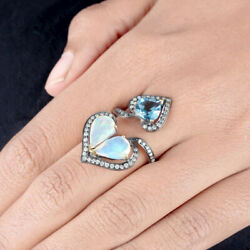 Opal Gemstone Blue Topaz Sterling Silver Heart Wrap Ring Diamond Pave Jewelry 7and039