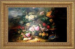 Master Quality 48x72 Stunning Hand Painted Oil On Canvas Still Life Flowers