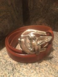 Rare Kieselstein-cord Sterling Winged Owl Sitting On The Moon Buckle With Belt