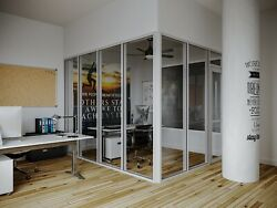 CGP Glass Aluminum 2 Wall Office Partition System w Door 9#x27;x6#x27;x9#x27; Clear Anodized
