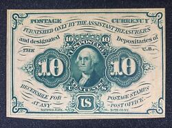 Postage Currency 10 Cents - Fr 1242 Chcu Choice Uncirculated Fractional Currency