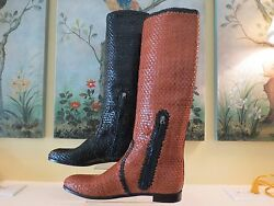 Nwb Women Authentic Prada Woven Leather Riding Tall Brown Boots Size 41 1400.00