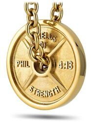 Men's Gold Stainless Steel Jumbo Weight Plate On Linked Chain Necklace-phil 413