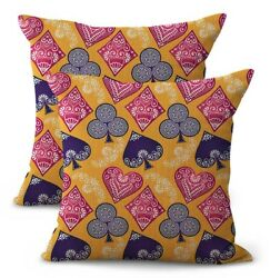 Set Of 2 Wholesale Throw Pillowcase Playing Cards Cushion Cover