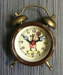 Disney Mickey Mouse Small Alarm Clock Vintage Style Easy to Read Molded Hands