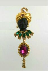 Signed, Exquisite Askew London Ornate Collar Blackamoor Brooch Navettes And Cab