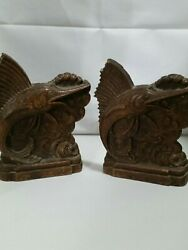 Vintage 1940's Ornawood Syroco Bookends--jumpin Marlin-very Nice