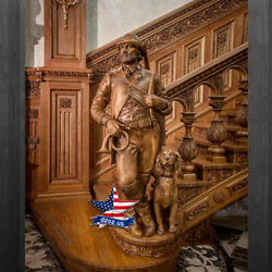 ❤️️THE SCULPTURE HUNTER WITH THE DOG❤️FOR STAIRS WOOD CARVED BUST STATUE DZOZ