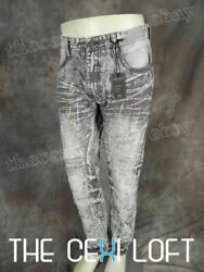 Mens SWITCH DESIGNER Jeans Taper Fit Leg Faded Rips Grey Wash Paint Splats