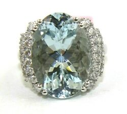 Oval Aquamarine And Diamond Accents Solitaire Ladyand039s Ring 14k White Gold 10.65ct