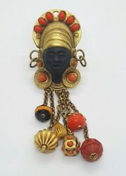 Askew London Blackamoor Afro-centric Native Tribal Brooch Cabs And Unique Beads