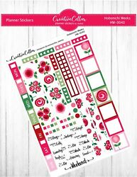 HW 0040 Floral Planner Stickers Hobonichi Weeks Red and Pink Flowers $3.75
