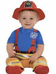 First Fireman Costume Dept Chief Firefighter Halloween Baby Infant Jumpsuit Hat