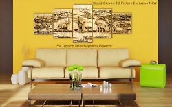 Triptych Safari Elephants Wood Carved 3d Artwork Picture Exclusive