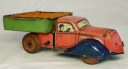 Super Rare 1930's J. Chein And Co. Wind Up Dump Truck Old Tin Toy