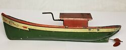 Extremely Rare Edna 1910 Vintage J. Chein And Co U.s.a. Wind Up Tin Toy Boat