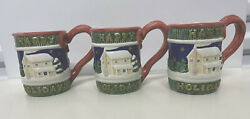 Omnibus By Fitz And Floyd Happy Holidays Mugs Set Of 3 Christmas Coffee Cup