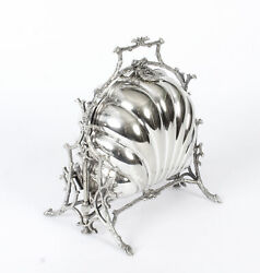 Antique Victorian Silver Plated Shell Folding Biscuit Box Fenton Brothers 19thc