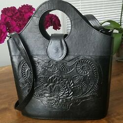 Black Floral Embossed Mexican Leather Bucket Purse-beautiful design