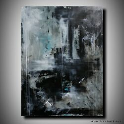 Contemporary Black Grey Large Abstract Original Oil Painting Art by Ann Mikhail