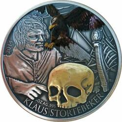 Niue 2014 5 Klaus Stortebeker Pirate Of The North Gilded 5 Oz Silver Coin