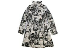 authentic DESIGUAL faces tapestry coat Black and White Abstract pattern Size 42