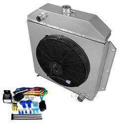 Ford Cars Chevy Engine Radiator,shroud, 16 Fan And Relay,champion Aluminum 4 Row
