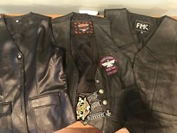 Vintage Motorcycle Vest Lot 3 Vest Different Sizes 1 With Patches