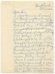Civil War Era Personal History Letter By W.j. Richey, 4th Pa. Cavalry 1864.