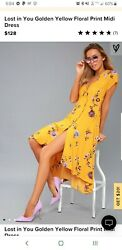 Lost in You Golden Yellow Floral Print Midi Dress M