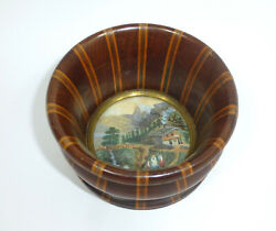 Seltene Scha Wooden Bowl With Picture And Wood Inlay 19 Century