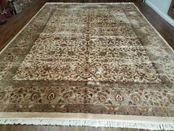 10and039 X14and039 One-of-a-kind Indian Agra Hand-knotted Wool Rug Beige Tea Washed Nice
