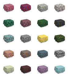 Ambesonne Abstract Layout Ottoman Cover 2 Piece Slipcover Set And Ruffle Skirt