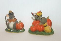 Pair Of Fitz And Floyd Charming Tails Mice The Pilgrim And The Good Witch