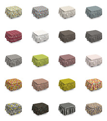 Ambesonne Retro Ottoman Cover 2 Piece Slipcover Set And Ruffle Skirt