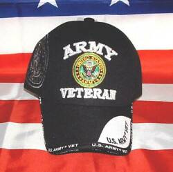 US Army Veteran Black Duel Old Emblem Embroidered Licensed Military Ball CapHat