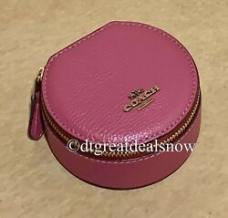 NWT Coach Cosmetic Jewelry Round Case Dark Pink 88106 Pebbled Leather $125 $64.98
