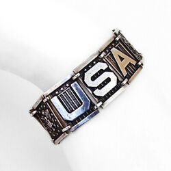 Usa Great Seal Link Bracelet Sterling Silver