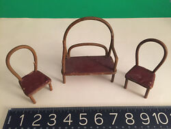Antique Set Miniature Doll House Furniture Victorian 3pc Bentwood Leather Seat