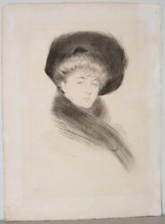 Paul Helleu French 1859-1927 Drypoint Etching Of An Elegant Woman C.1900