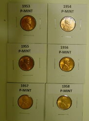 Six Hand Picked Choice Bu 1953-p To 1958-p Wheatback Pennys Plus 2019 P And D 44