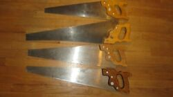 4 Disston Hand Saws In Nice Shape, D-23 And D-8 Chrome Nickel -