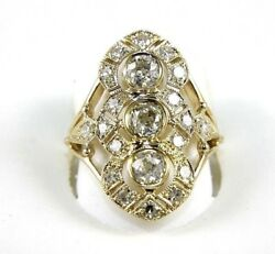 Natural Round Diamond Long Cluster Ladyand039s Ring 14k Yellow Gold 1.64ct